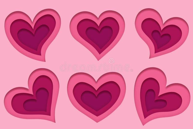 Установите 6 различных прекрасных розовых сердец в стиле искусства бумаги для карт поздравлению на свадьба и день Валентайн бесплатная иллюстрация