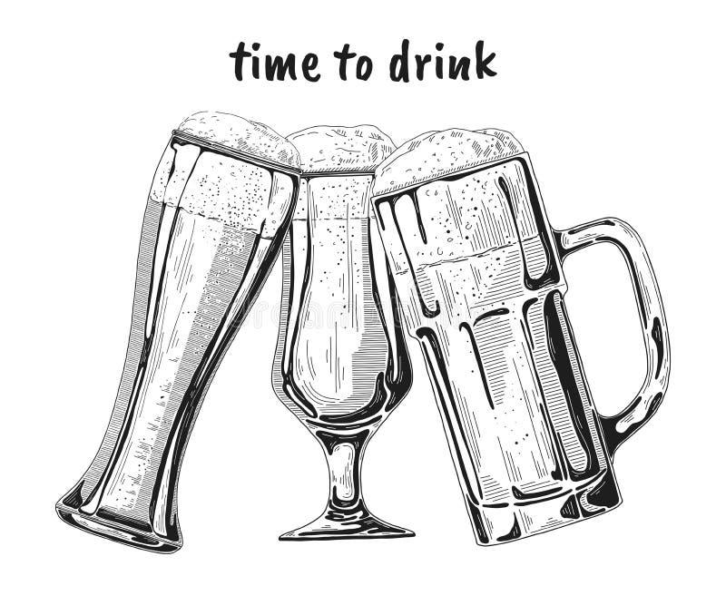 Установите различных стекел с пивом, различных кружек пива также вектор иллюстрации притяжки corel иллюстрация штока