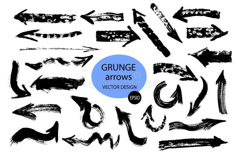 Установите различных стрелок щетки grunge, указателей Объект краски руки вычерченный для пользы в вашем дизайне r бесплатная иллюстрация