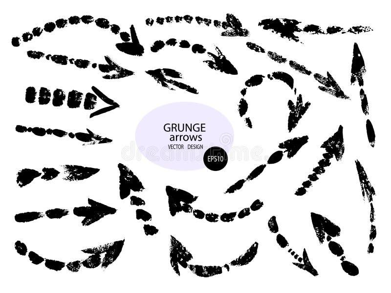 Установите различных стрелок щетки grunge, указателей Объект краски руки вычерченный для пользы в вашем дизайне r иллюстрация штока