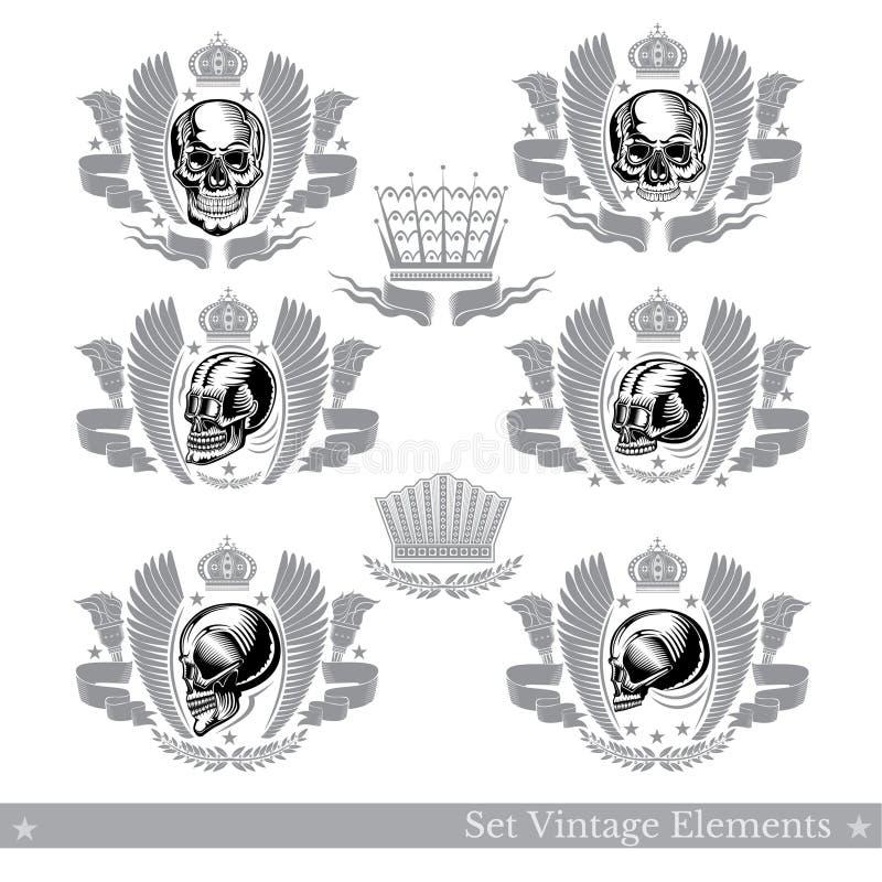Установите различных черепов с лентами крыльев и винтажным элементом Дизайн вектора heraldic бесплатная иллюстрация