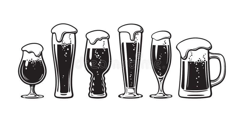 Установите разных видов стекел пива Иллюстрация вектора руки вычерченная на белой предпосылке иллюстрация вектора