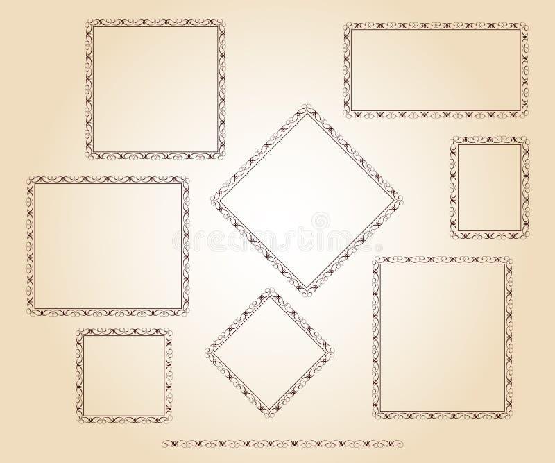 Установите рамки вектора ретро также вектор иллюстрации притяжки corel Беж Брайна бесплатная иллюстрация