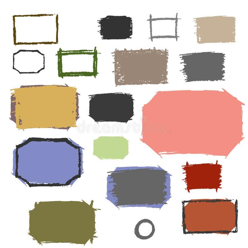Установите рамки grunge с scuffed стоковое изображение rf
