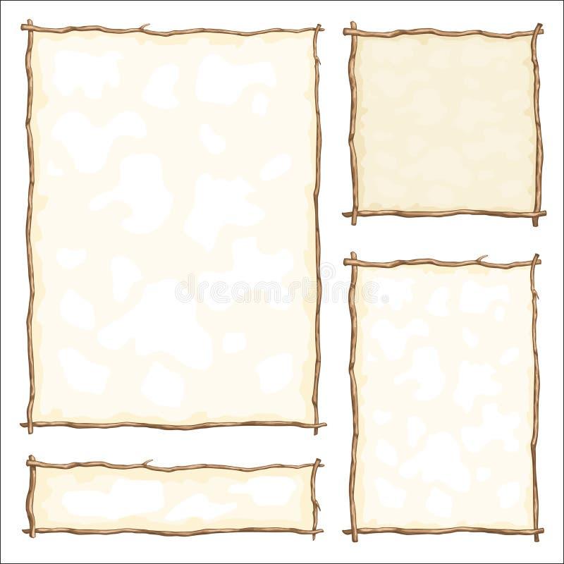 Установите рамку сделанный от ветви иллюстрация штока