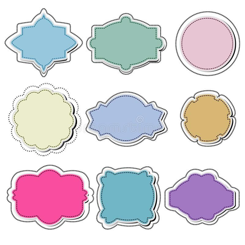 Установите рамок белой бумаги в различных формах иллюстрация вектора