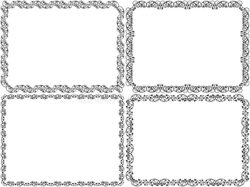 Установите 4 рамок восковки викторианских флористических бесплатная иллюстрация