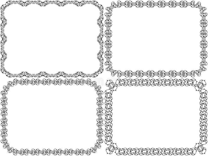Установите 4 рамок восковки декоративных флористических иллюстрация штока