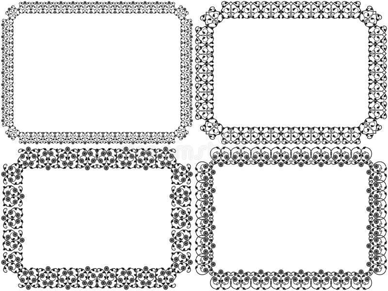 Установите 4 рамок декоративной восковки флористических бесплатная иллюстрация