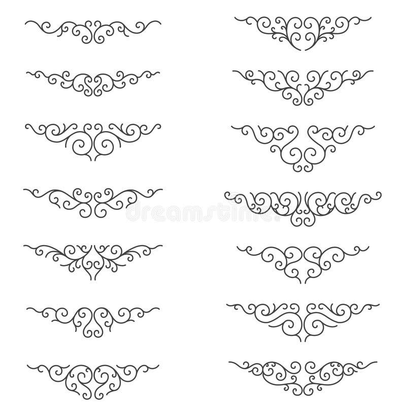 Орнаментальные линии правила Декоративные элементы дизайна вектора - вектор Граница и рассекатель бесплатная иллюстрация