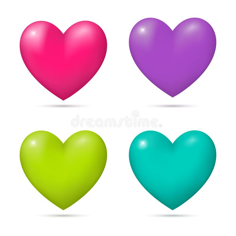 Установите реалистических сердец 3d иллюстрация вектора