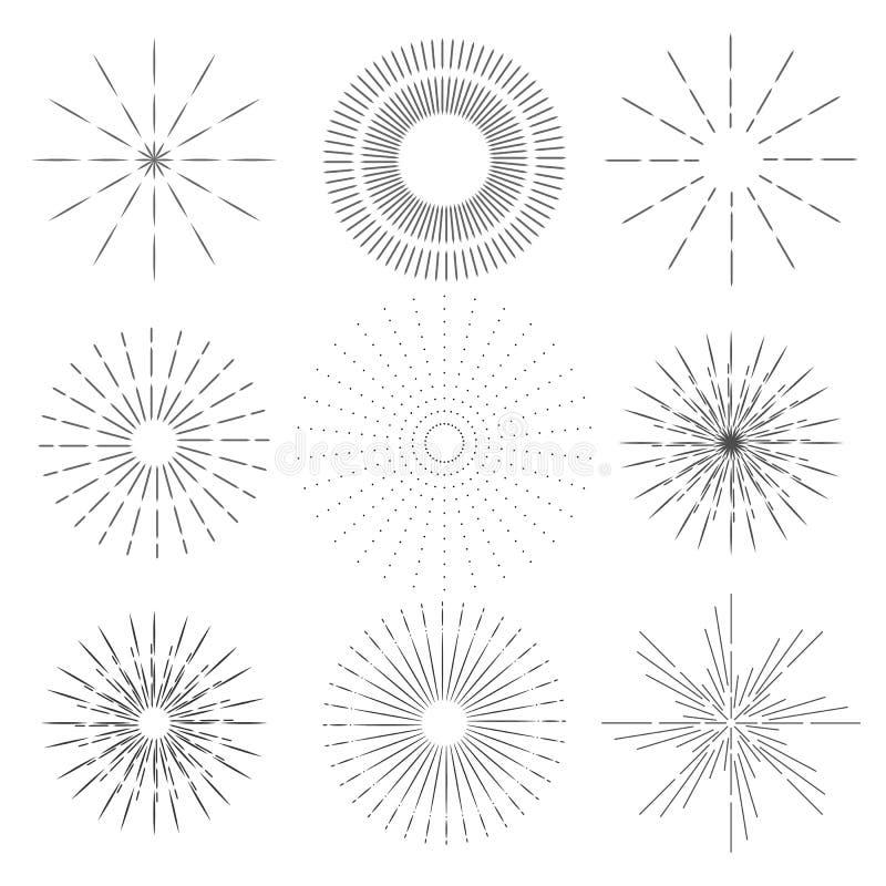 Установите ретро лучей солнца Винтажный логотип, ярлыки, значки Взрыв фейерверков вектор иллюстрация вектора
