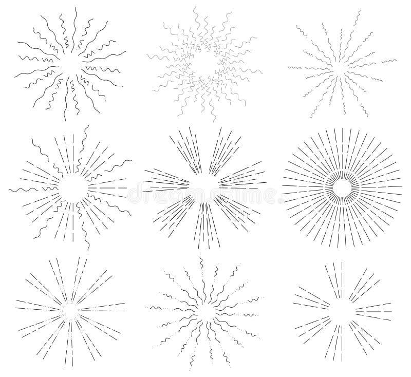 Установите ретро лучей солнца Винтажный логотип, ярлыки, значки Взрыв фейерверков конструкция легкая редактирует элементы для тог иллюстрация штока