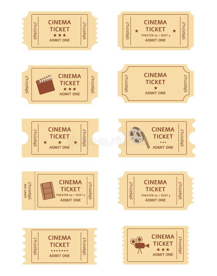 Установите ретро мультфильма билетов кино или плоского стиля иллюстрация вектора