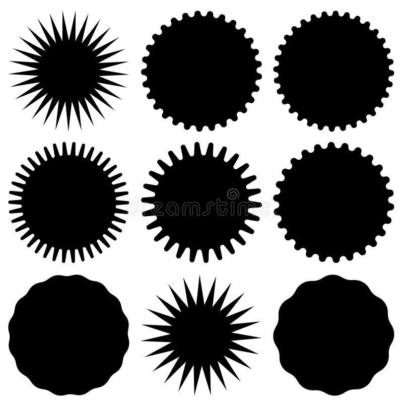 Установите ретро пустого starburst, sunburst значков также вектор иллюстрации притяжки corel бесплатная иллюстрация