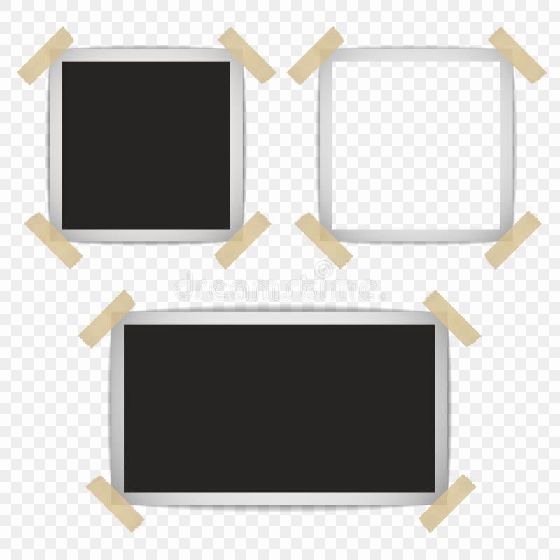 Установите ретро рамок фото с тенями на липкой ленте с возможностью верхнего слоя также вектор иллюстрации притяжки corel иллюстрация штока
