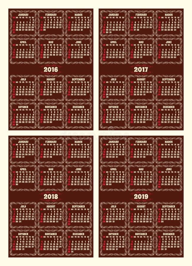 Установите решетку календаря в ретро стиле на коричневой предпосылке бесплатная иллюстрация