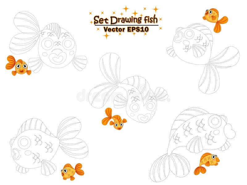 Установите рисовать милые рыбку и цвет мультфильма E r иллюстрация вектора
