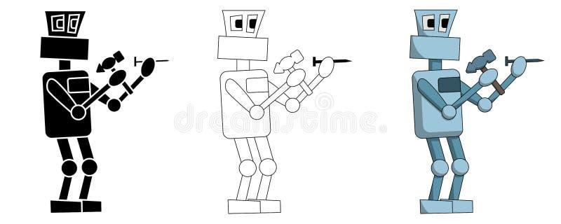 Установите роботов бейте ногти молотком на работе Изолированная иллюстрация иллюстрация вектора