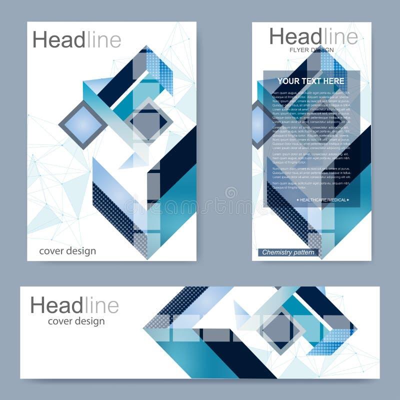 Установите рогульку, шаблон размера A4 брошюры, знамя Молекулярная структура с соединенными линиями и точками Будущее геометричес бесплатная иллюстрация