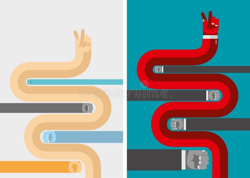 Установите руки дела концепции дела в плоском стиле для infogra бесплатная иллюстрация