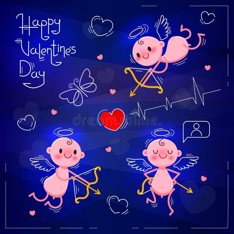 Установите свадьбу и элементы дизайна дня валентинок Маленькие милые купидоны на темной неоновой предпосылке также вектор иллюстр бесплатная иллюстрация