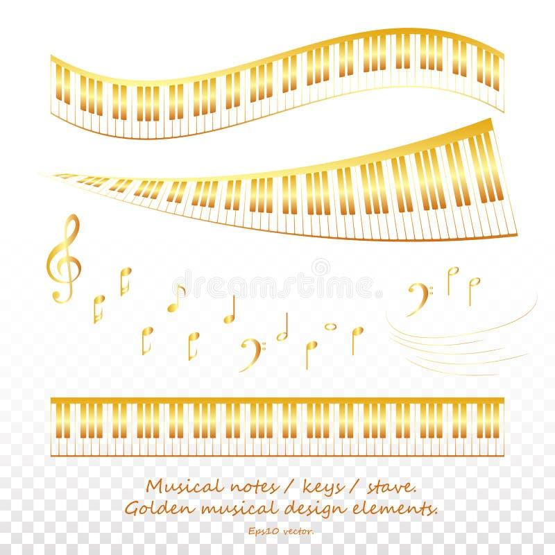 Установите светить золотым музыкальным ключам и примечаниям для дизайна золотые ключи и элементы рояля Клавиатуры рояля выравнива иллюстрация вектора