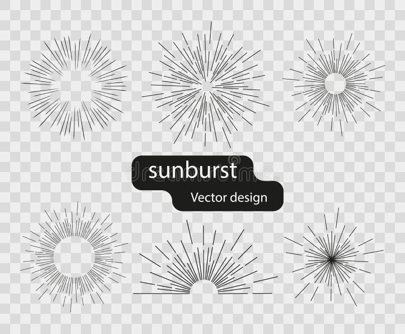 Установите световых лучей вектора ретро солнечных от простых линий Абстрактные лучи солнца Sunburst элементы дизайна на изолирова иллюстрация вектора
