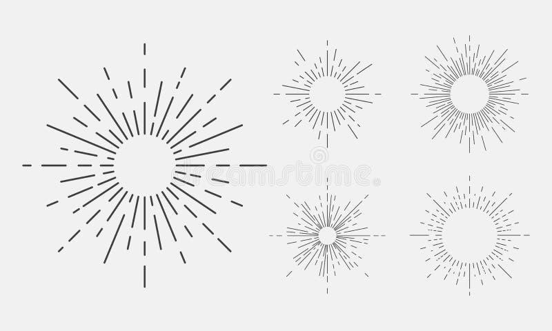 Установите 5 световых лучей, sunburst винтажных элементов дизайна для логотипа, эмблемы, плаката Черные световые лучи изолированн иллюстрация штока