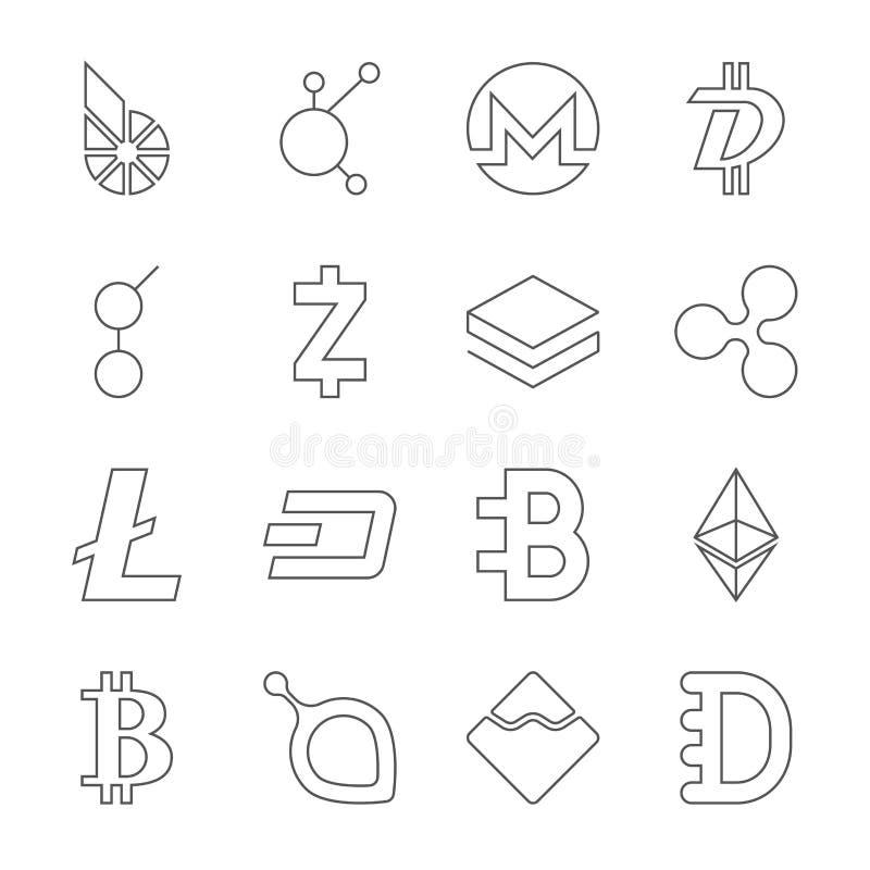 Установите секретных монеток BitShares логотипа валюты, BitConnect, Monero, DigiByte, Голема, Zcash, Stratis, пульсации, Litecoin бесплатная иллюстрация