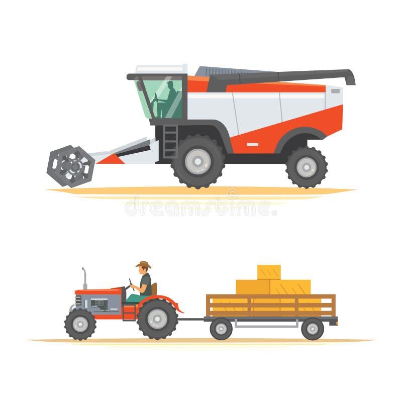 Установите сельско-хозяйственную технику аграрные корабли промышленного оборудования и машины фермы Тракторы, жатки, совмещают иллюстрация вектора