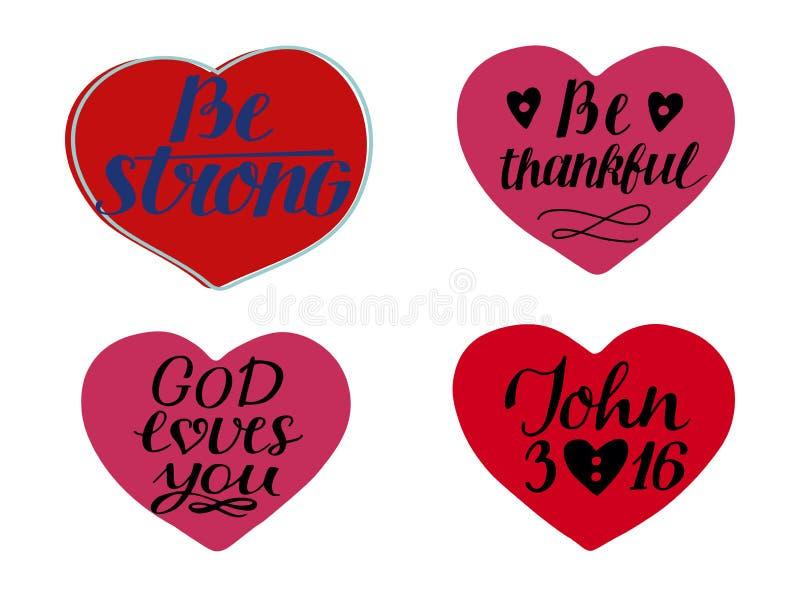 Установите 4 сердец с цитатами рук-литерности сильный Бог любит вас Джон 3 16 бесплатная иллюстрация