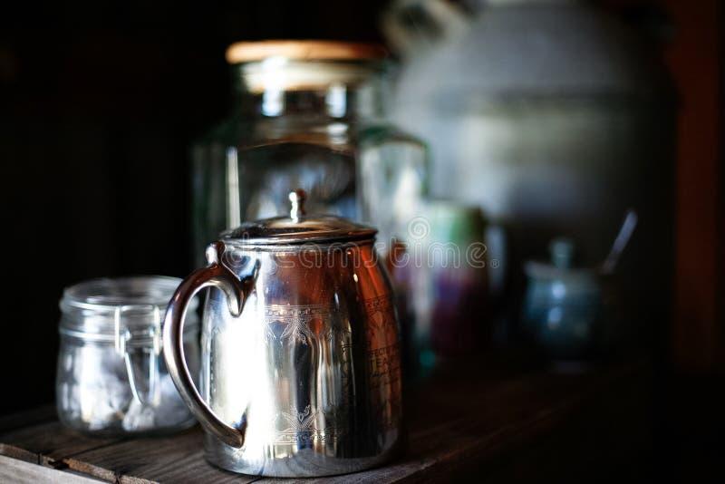 установите серебряный чай стоковые фотографии rf