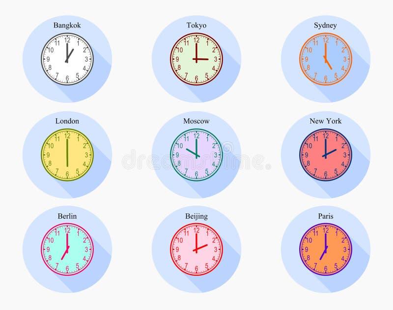 Установите сетноого-аналогов времени зоны мира часов иллюстрация вектора