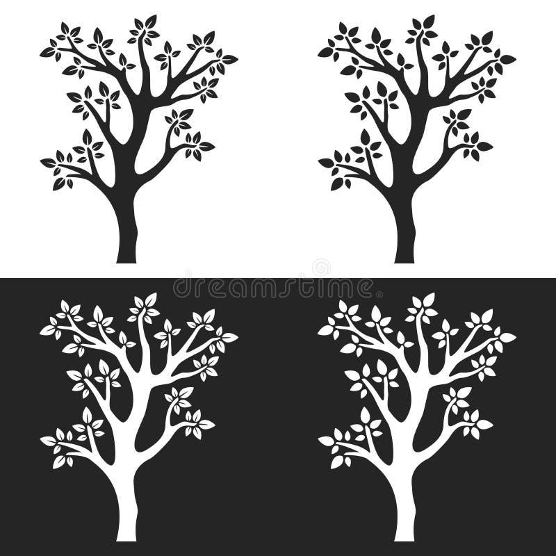 Установите силуэтов дерева с ветвями на белой и серой предпосылке иллюстрация вектора