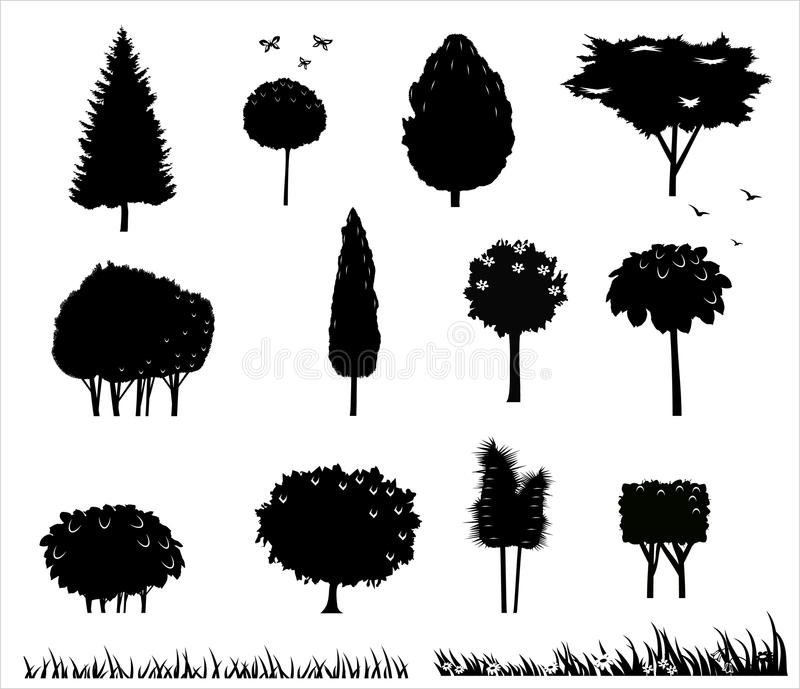 Установите силуэты деревьев 2 бесплатная иллюстрация