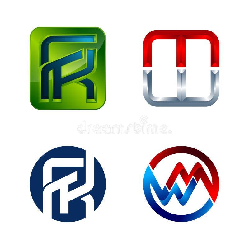 Установите символа для шаблона дизайна логотипа дела Собрание значков конспектов современных для организации иллюстрация штока