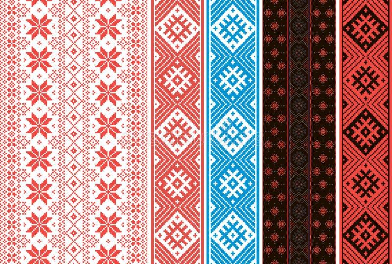 Установите славянских орнаментов Ленты для поясов и украшения одежды стоковые изображения
