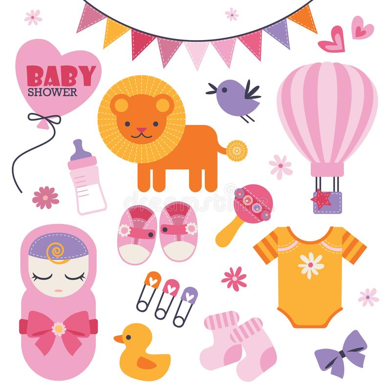 Установите сладких и красивых значков для события детского душа иллюстрация вектора
