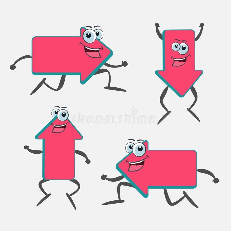 Установите смешных стрелок мультфильма r иллюстрация штока