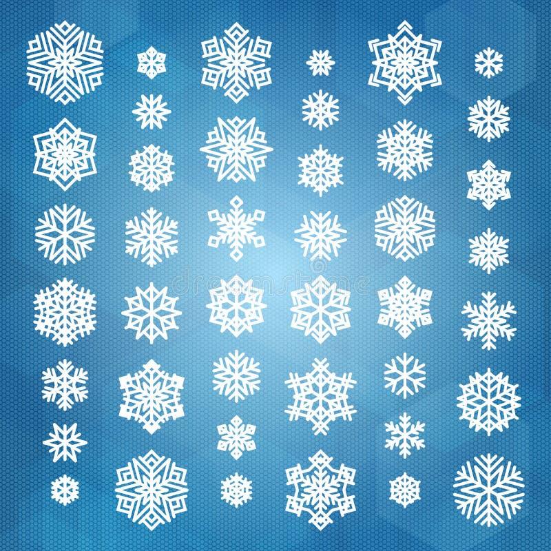 Download установите снежинки белым иллюстрация вектора. иллюстрации насчитывающей цветы - 81812251