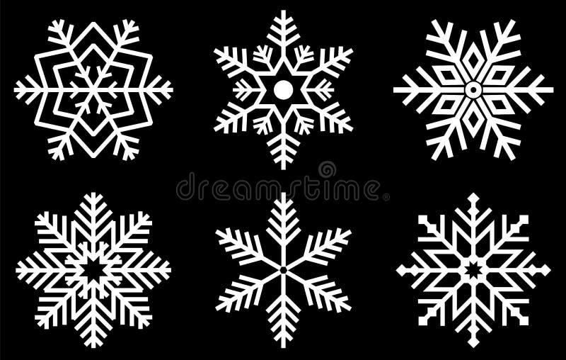 установите снежинки Формы снега рождества кристаллов снежинки зимы и замороженные снежности de заморозка сезона xmas крутого голу иллюстрация вектора