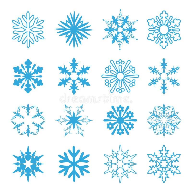 установите снежинки иллюстрация вектора