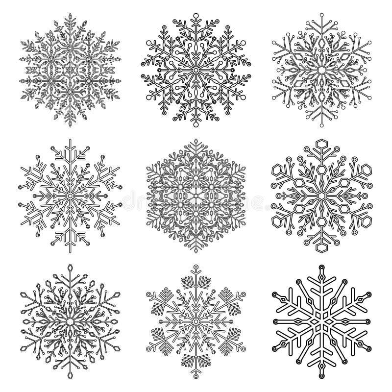 Download установите снежинки иллюстрация штока. иллюстрации насчитывающей хлопь - 81813446