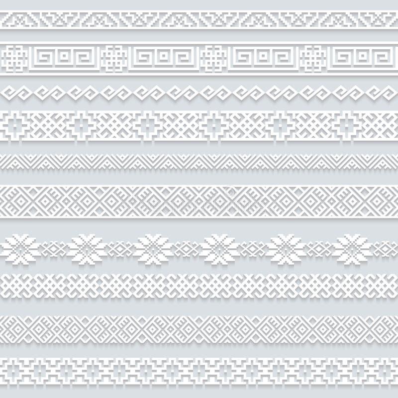 Установите собрание границ с тенью, орнаментальных бумажных линий белого шнурка горизонтальных иллюстрация вектора