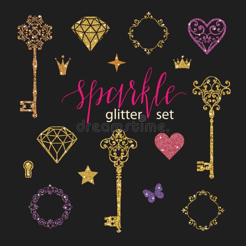 Установите собрание золотых диамантов, сердец, звезд, рамок, бабочки и ключей яркого блеска на черной предпосылке иллюстрация штока