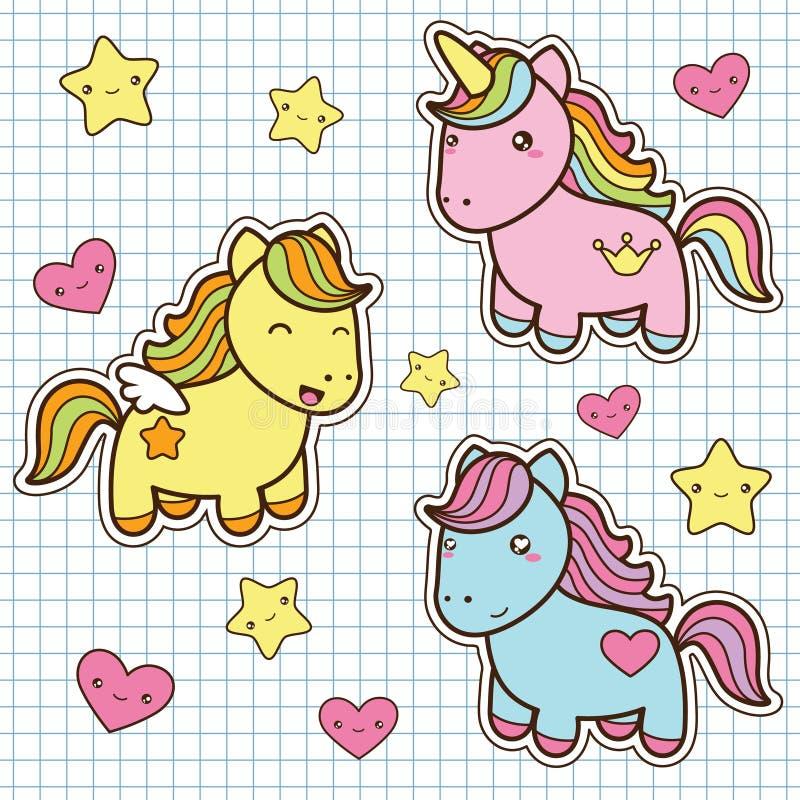 Установите собрание милых лошадей стиля kawaii иллюстрация штока