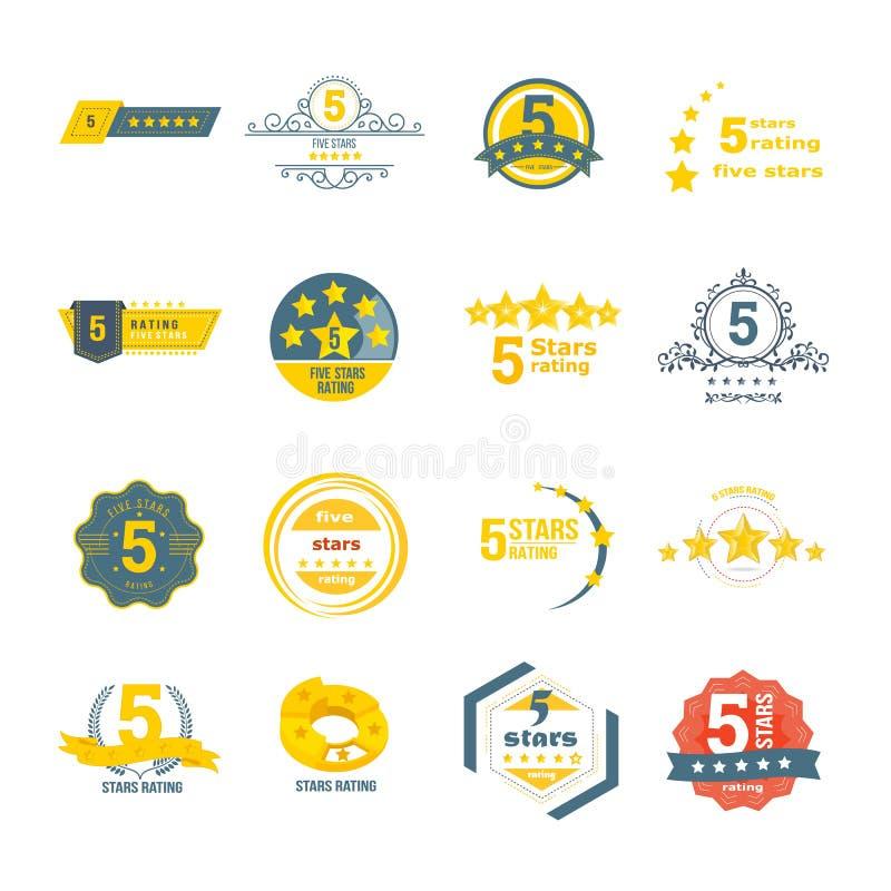 Установите, собрание различных элементов дизайна в форме оценки иллюстрация штока