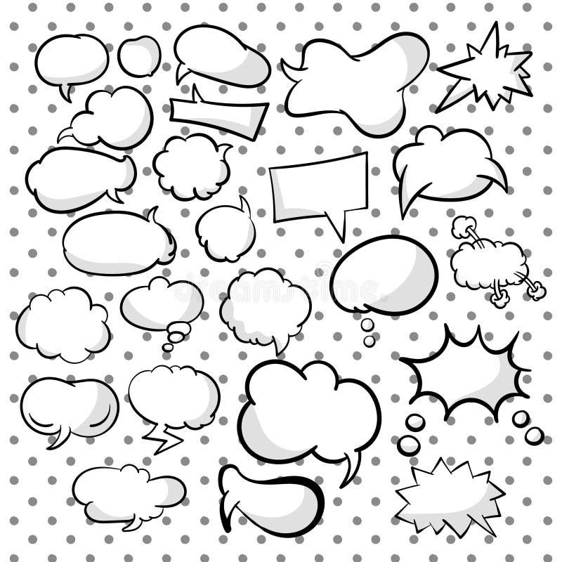 Установите, собрание речи и подумайте пузыри мультфильма Различные пустые пузыри doodle для текстов Формы разнообразия r иллюстрация вектора