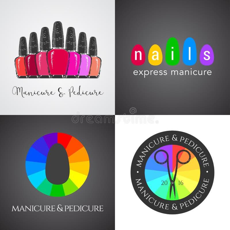 Установите, собрание салона ногтей, логотипа вектора искусства ногтей, значка бесплатная иллюстрация